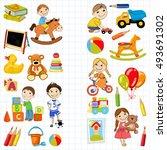 vector kindergarten pattern... | Shutterstock .eps vector #493691302