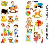 vector kindergarten pattern... | Shutterstock .eps vector #493691392