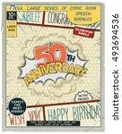50 th anniversary. happy... | Shutterstock .eps vector #493694536