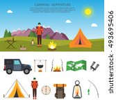 hiking and outdoor set flat... | Shutterstock .eps vector #493695406