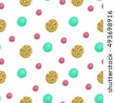 cute pattern with gold confetti ... | Shutterstock .eps vector #493698916
