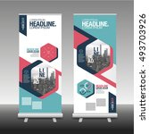 roll up banner stand design... | Shutterstock .eps vector #493703926