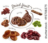 dried fruits colorful... | Shutterstock .eps vector #493708375