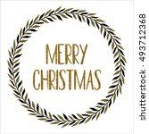 christmas wreath doodle | Shutterstock .eps vector #493712368