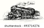steam locomotive.hand drawn... | Shutterstock .eps vector #493714276