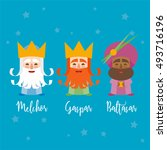 the three kings of orient on a... | Shutterstock .eps vector #493716196