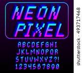 vector pixel 3d font alphabet... | Shutterstock .eps vector #493717468