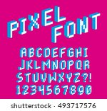 Vector Pixel 3D Font Alphabet And Numbers Isolated | Shutterstock vector #493717576