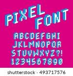 vector pixel 3d font alphabet... | Shutterstock .eps vector #493717576