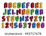 vector isometric pixel 3d... | Shutterstock .eps vector #493717678