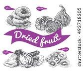 dried fruit illustration.... | Shutterstock .eps vector #493718305