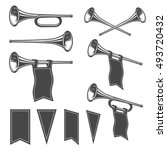 set of monochrome fanfares with ... | Shutterstock . vector #493720432