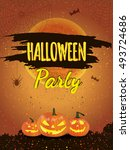 happy halloween poster. vector... | Shutterstock .eps vector #493724686