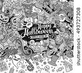 cartoon cute doodles hand drawn ... | Shutterstock .eps vector #493727308