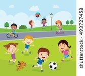children fun in the park | Shutterstock .eps vector #493727458