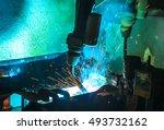 robots welding  movement in a... | Shutterstock . vector #493732162