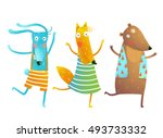 Stock vector cute baby animals rabbit fox bear dancing or playing kids characters wearing clothes childish 493733332
