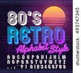 80's retro alphabet font. retro ... | Shutterstock .eps vector #493747345