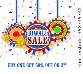 happy diwali festival sale... | Shutterstock .eps vector #493749742