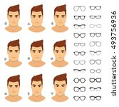 glasses shapes for men. types... | Shutterstock .eps vector #493756936