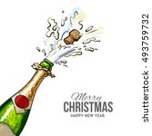 christmas greeting card with... | Shutterstock .eps vector #493759732