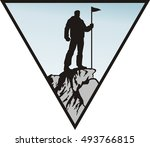 man with the flag on the top of ... | Shutterstock .eps vector #493766815