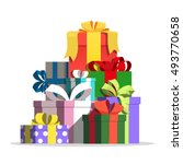 boxes with gifts vector... | Shutterstock .eps vector #493770658