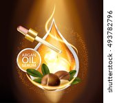 argan oil serum skin care... | Shutterstock .eps vector #493782796