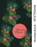 exotic tropical coral flowers... | Shutterstock .eps vector #493790446