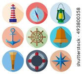 set of simple nautical flat... | Shutterstock .eps vector #493800358