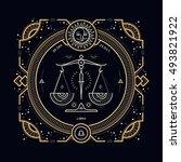 vintage thin line libra zodiac... | Shutterstock . vector #493821922