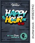 happy hour concept poster... | Shutterstock .eps vector #493822942