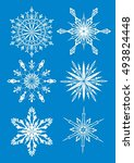 set of snowflakes  blue... | Shutterstock .eps vector #493824448