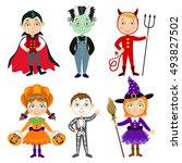 set of children in halloween... | Shutterstock . vector #493827502