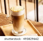hot latte macchiato  with... | Shutterstock . vector #493829662