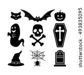 halloween icons set   Shutterstock .eps vector #493835095