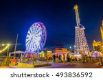 tibidabo mountain in barcelona  ... | Shutterstock . vector #493836592