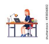 business woman or a clerk...   Shutterstock .eps vector #493836802
