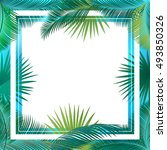 sukkot palm tree leaves frame. ... | Shutterstock .eps vector #493850326
