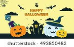 halloween concept banner with... | Shutterstock .eps vector #493850482