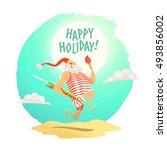 vector merry christmas  happy... | Shutterstock .eps vector #493856002
