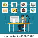 hacker sitting at the desktop... | Shutterstock .eps vector #493859905