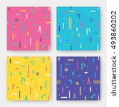 seamless geometric pattern set... | Shutterstock .eps vector #493860202