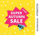 autumn summer sale banner.... | Shutterstock .eps vector #493860256