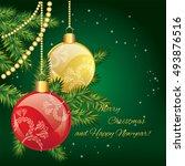 christmas balls on a tree... | Shutterstock .eps vector #493876516