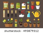 vector set of indoor gardening... | Shutterstock .eps vector #493879312