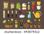 vector set of indoor gardening... | Shutterstock .eps vector #493879312