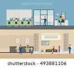 bank office interior with... | Shutterstock .eps vector #493881106