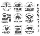 butchery black white emblems... | Shutterstock .eps vector #493881172