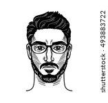 portrait of bearded man for... | Shutterstock .eps vector #493883722